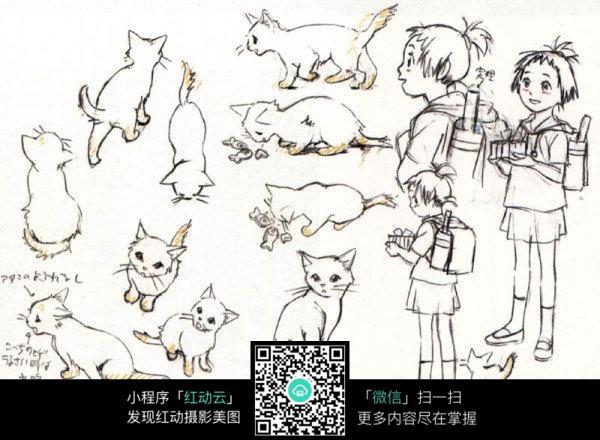 卡通女孩上学和猫线描