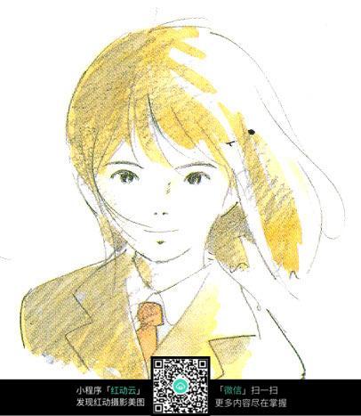 卡通女孩学生上色动漫线描