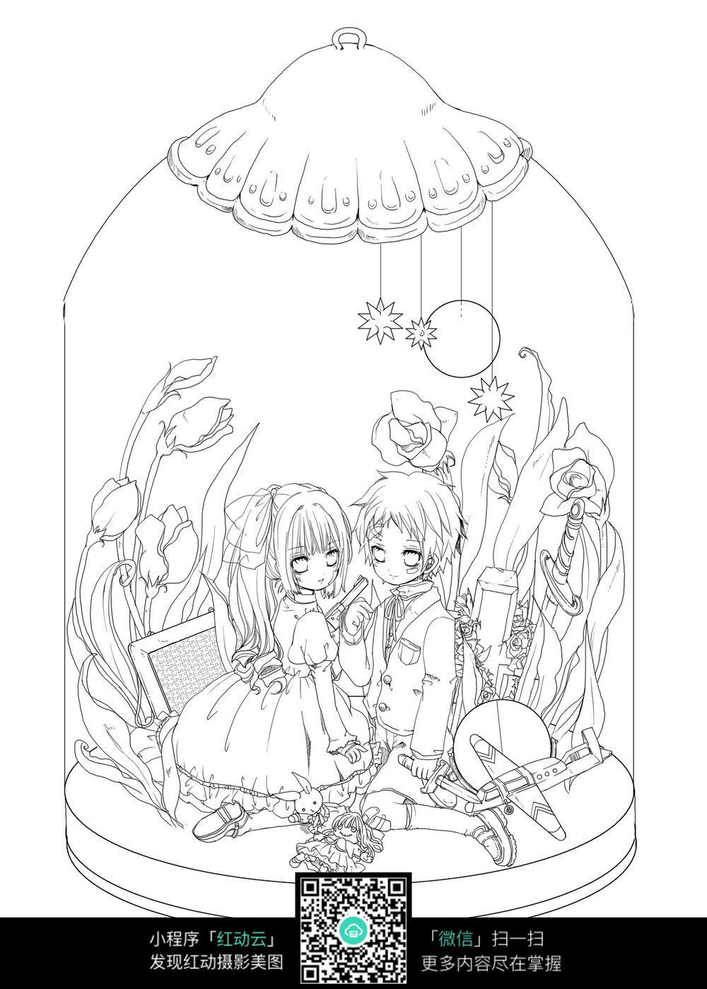 免费素材 图片素材 漫画插画 人物卡通 卡通情侣在玻璃罩里线描