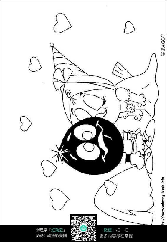 卡通亲吻小鸡的小女孩手绘线描画