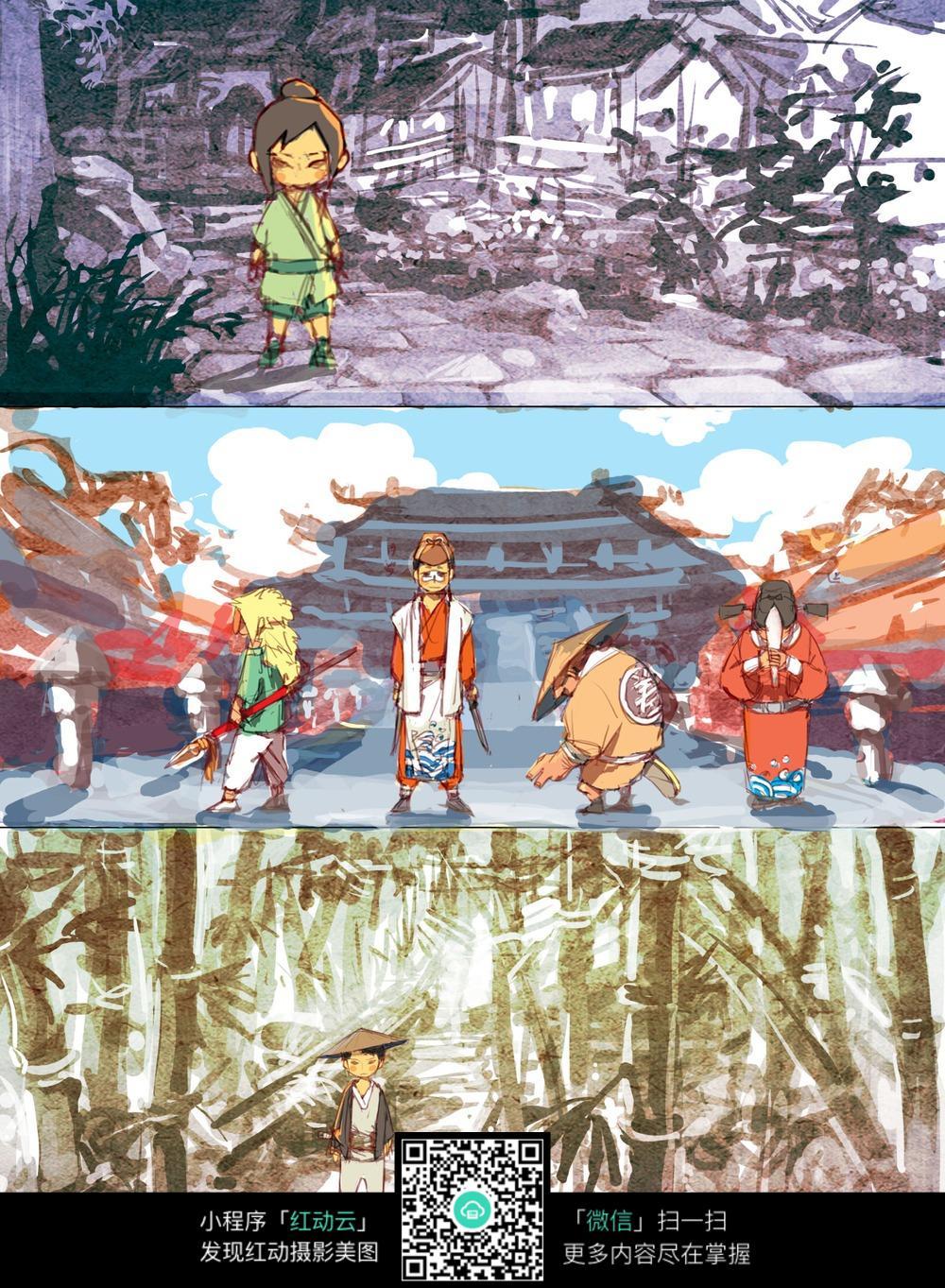 卡通人物场景画手绘上色稿