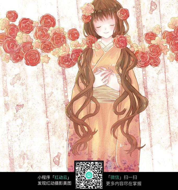 卡通日本动漫女孩线描_人物卡通图片