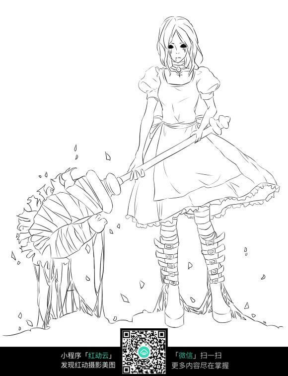 卡通少女人物场景插画