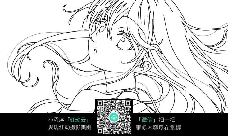 免费素材 图片素材 漫画插画 人物卡通 卡通思念家乡的女孩线描