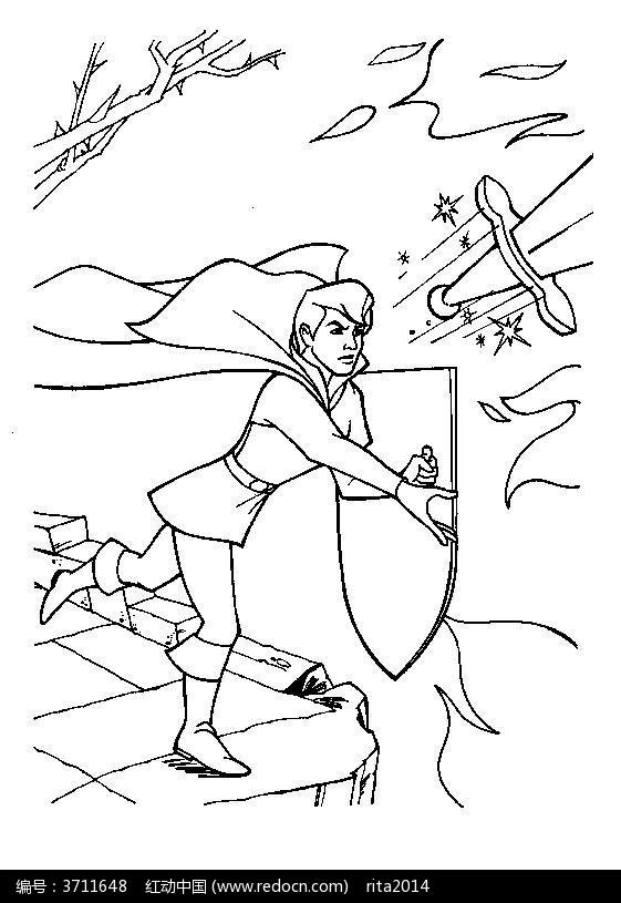 卡通王子战斗动漫线描