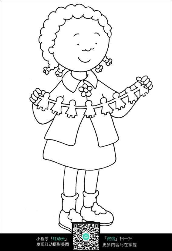 卡通玩皮筋的小女孩手绘线描图