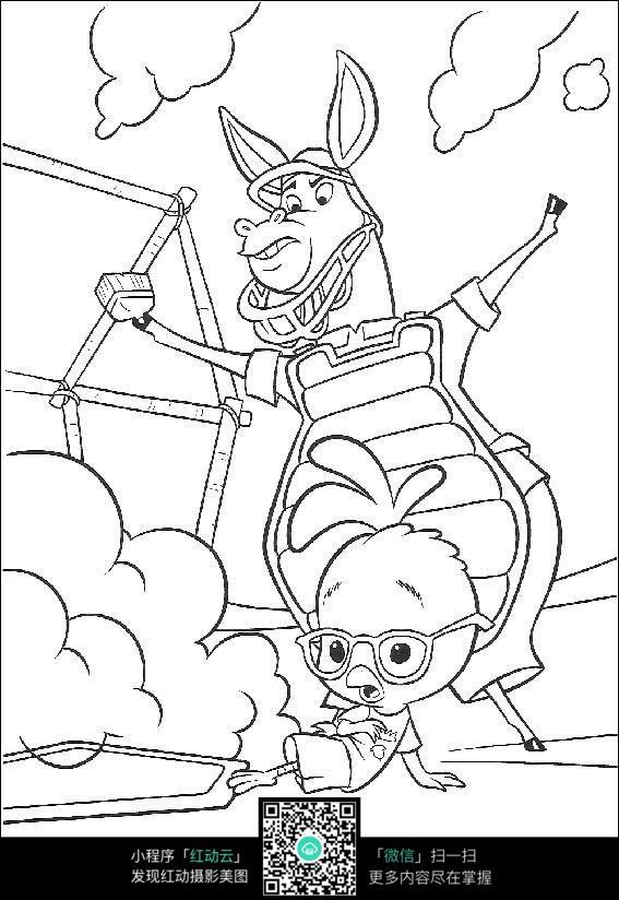 卡通小鸡小驴手绘线描画