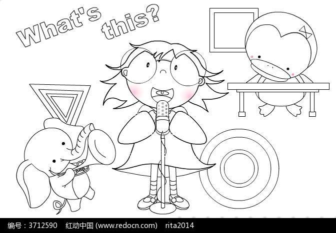 卡通动物图案兔子 卡通动物素描图案图片