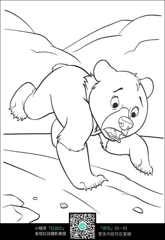 卡通小熊奔跑线描