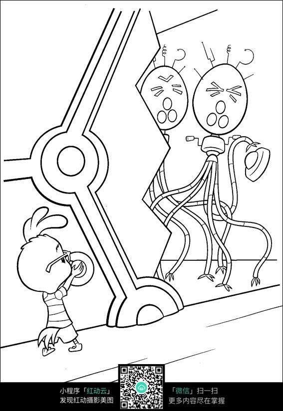 卡通小鸭子章鱼手绘线描画
