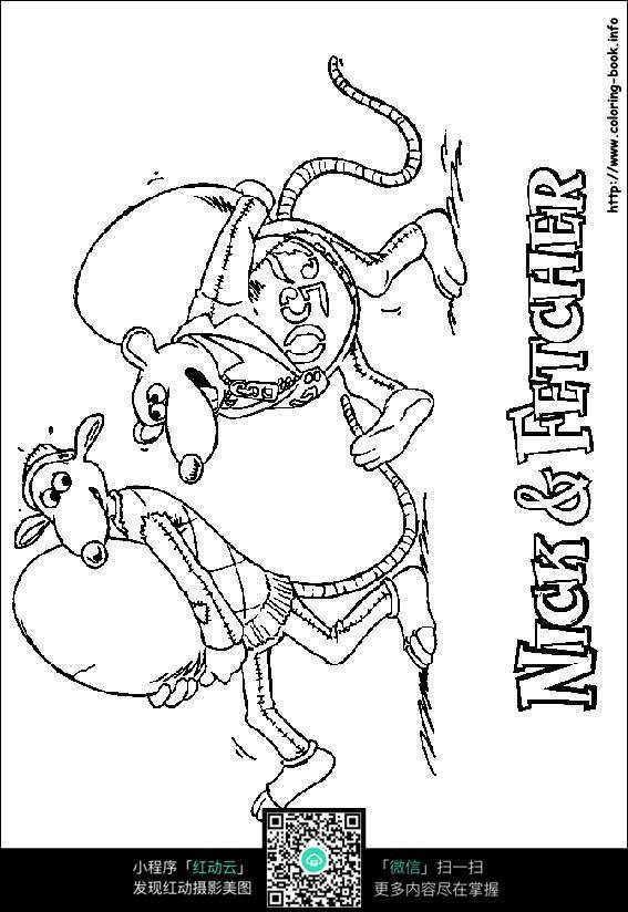 免费素材 图片素材 漫画插画 人物卡通 卡通行走的小狗手绘线描画