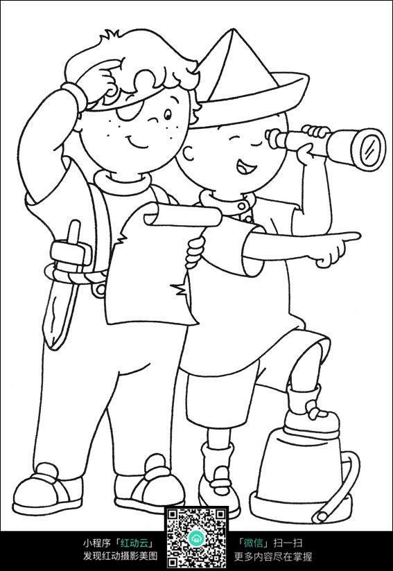 卡通用望远镜看远方的小孩手绘线描画图片