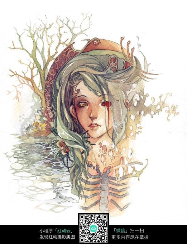 免费素材 图片素材 漫画插画 人物卡通 卡通游戏恐怖女孩手绘