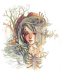 卡通游戏恐怖女孩手绘