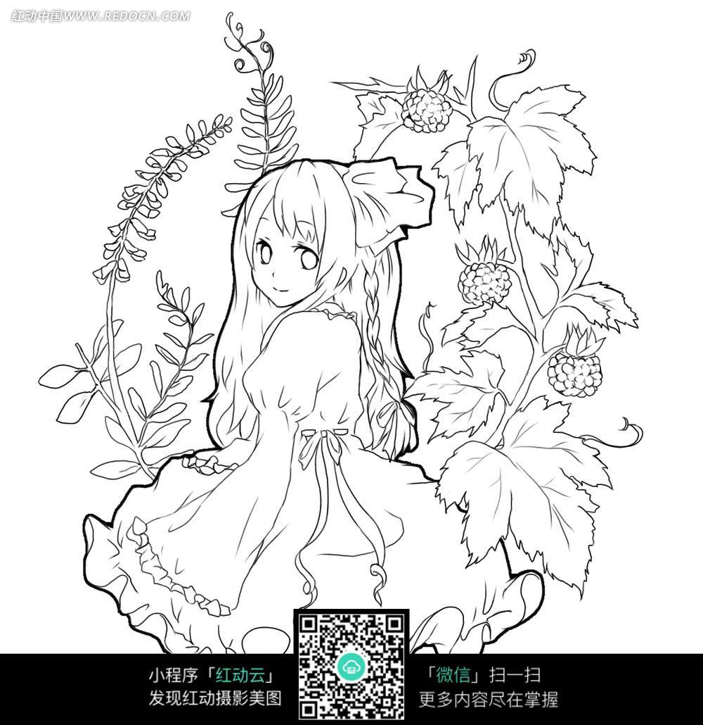 卡通坐在花丛中的女孩线描