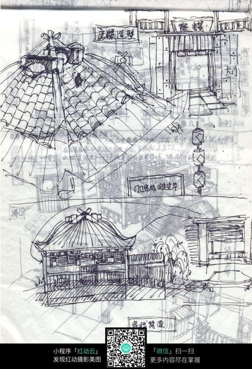 客栈古建筑线描