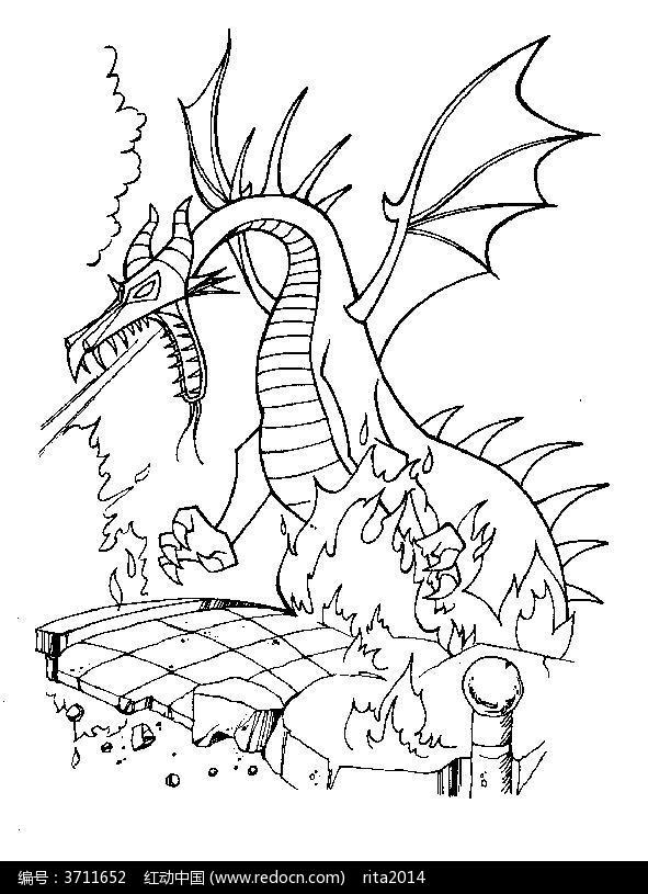 卡通人物漫画  手绘 素材 速写 涂鸦 线稿 线画 线描 写生 恐龙喷火