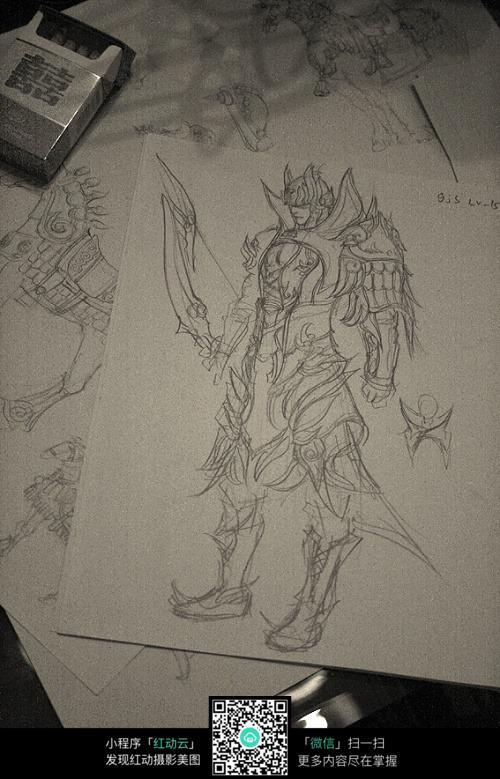 盔甲战士手绘线稿素材