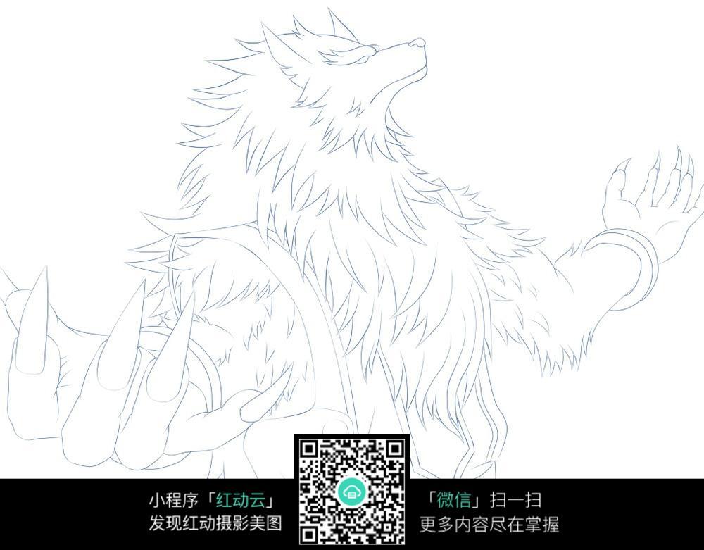 钢铁侠机器人手绘线描_人物卡通图片_红动手机版