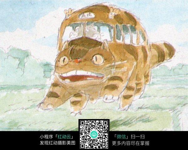 老虎汽车手绘水彩线描画