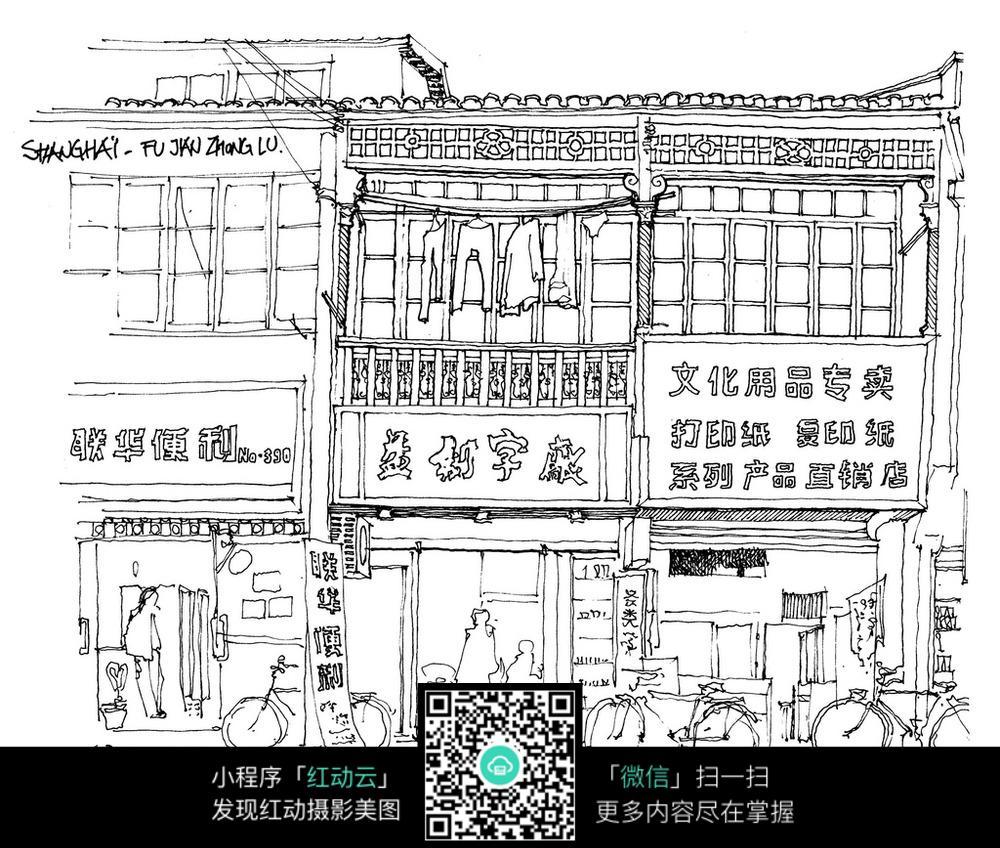 老建筑街景手绘线稿图