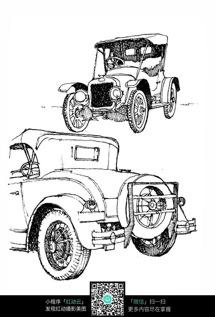 小汽车手绘线描画_活动场景图片_红动手机版