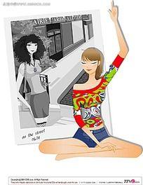 练瑜伽的美女矢量素材图片