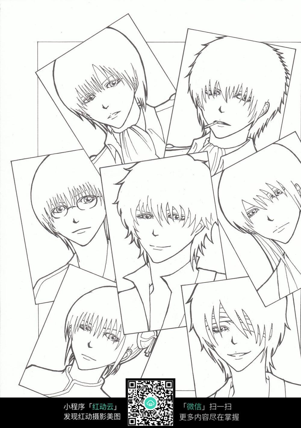 免费素材 图片素材 漫画插画 人物卡通 理发店男孩发型图片线描  请您