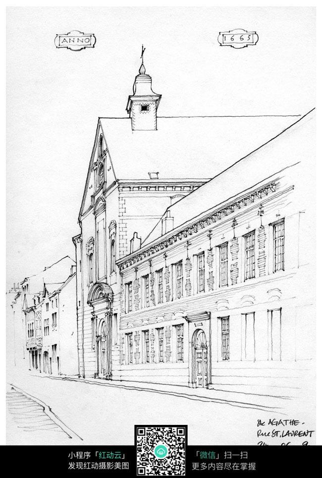 临街教堂手绘图图片