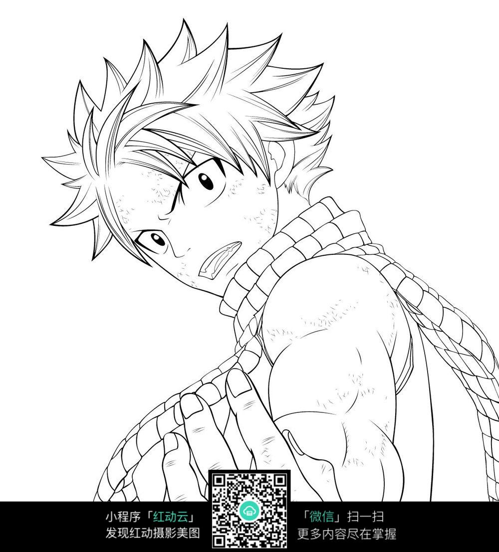龙珠动画男孩人物线描