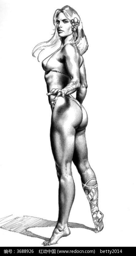 裸体美女侧面手绘素描图图片