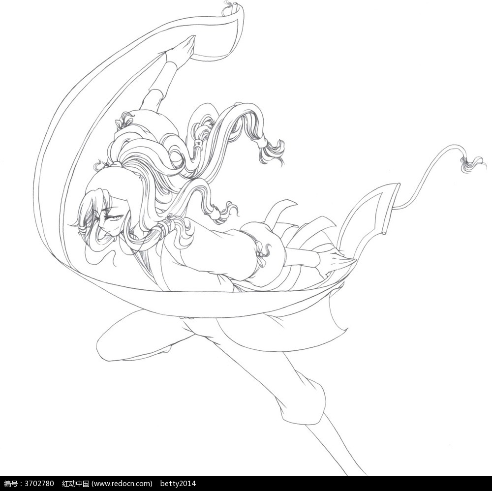 漫画少女造型线稿
