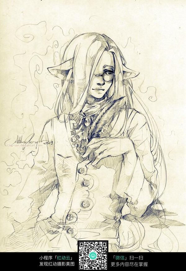 铅笔手绘图片人物男生