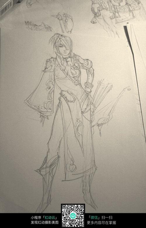 美男战士手绘线稿图片
