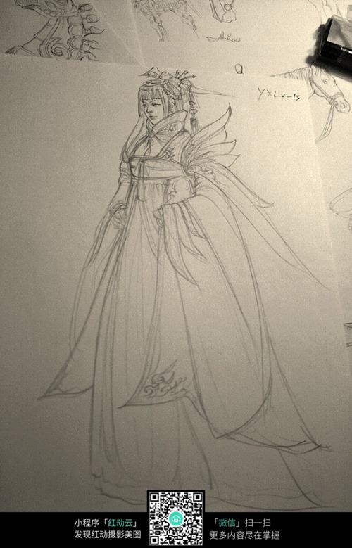 美女公主手绘线稿素材