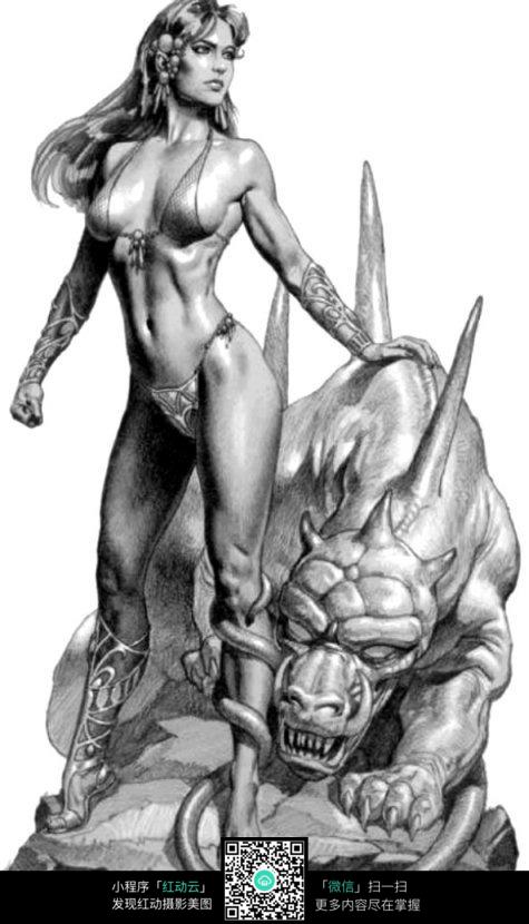 美女和野兽手绘素描图图片