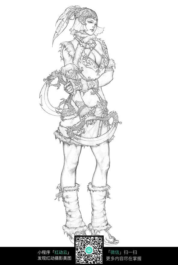 美女战士侧面手绘线稿图片