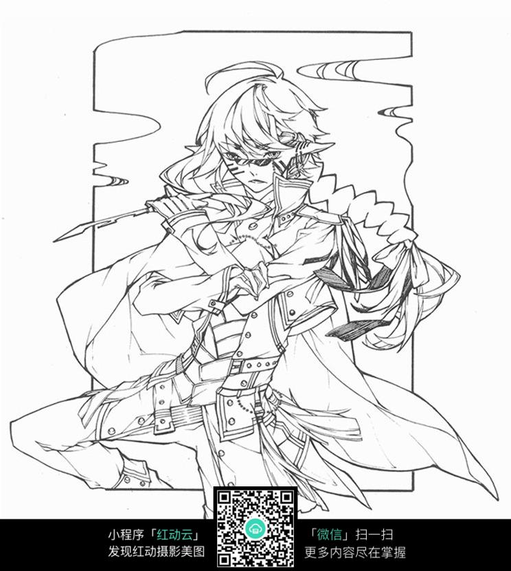 免费素材 图片素材 漫画插画 人物卡通 美女战士手绘线描稿  请您分享