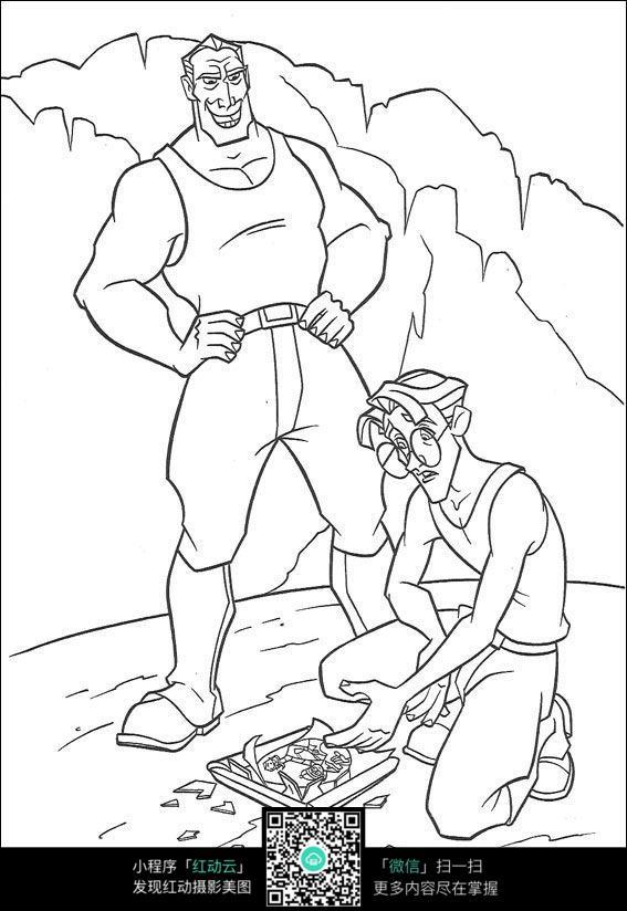猛士和眼镜男手绘线稿素材