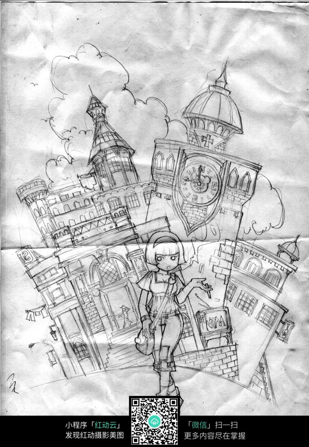 摩登女郎手绘线描