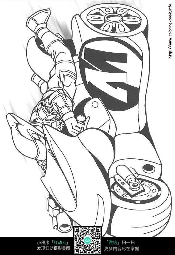 摩托车赛手手绘线描画_人物卡通图片