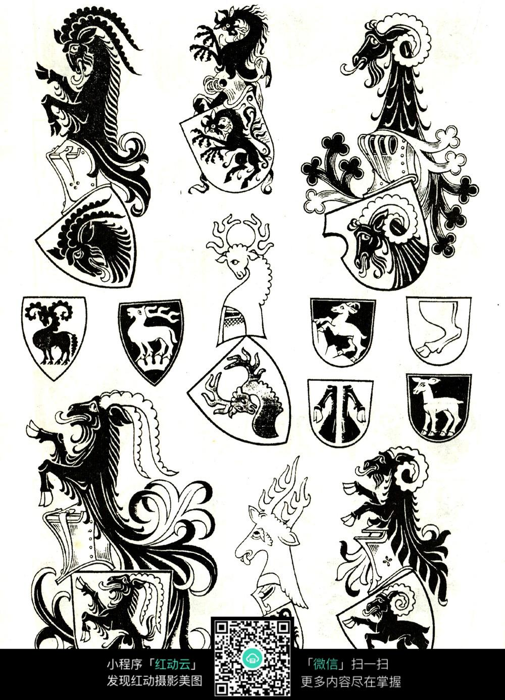 免费素材 图片素材 文化艺术 传统图案 摩羯座花纹盾牌