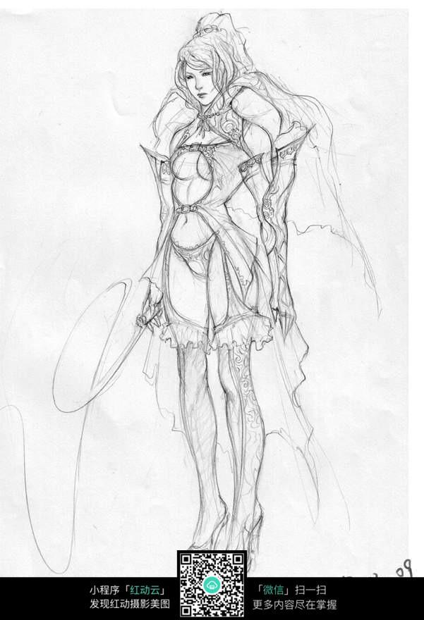 拿鞭子长发美女手绘线稿素材