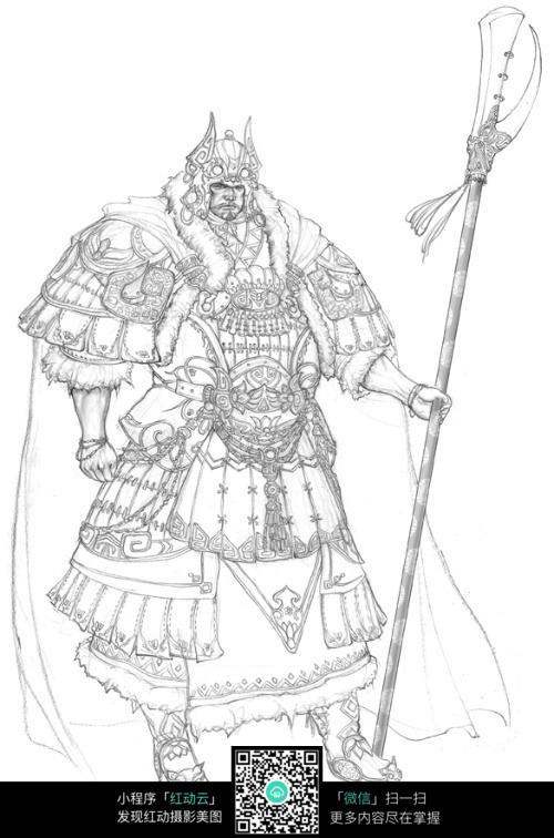 拿兵器的盔甲勇士手绘线稿素材
