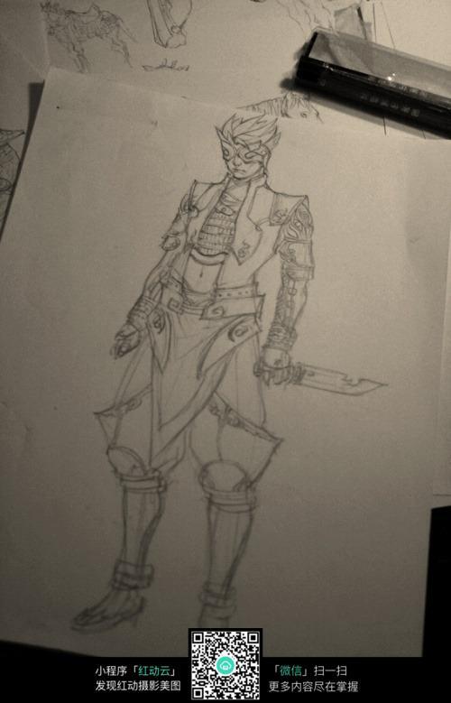 拿刀的酷男战士手绘线稿素材