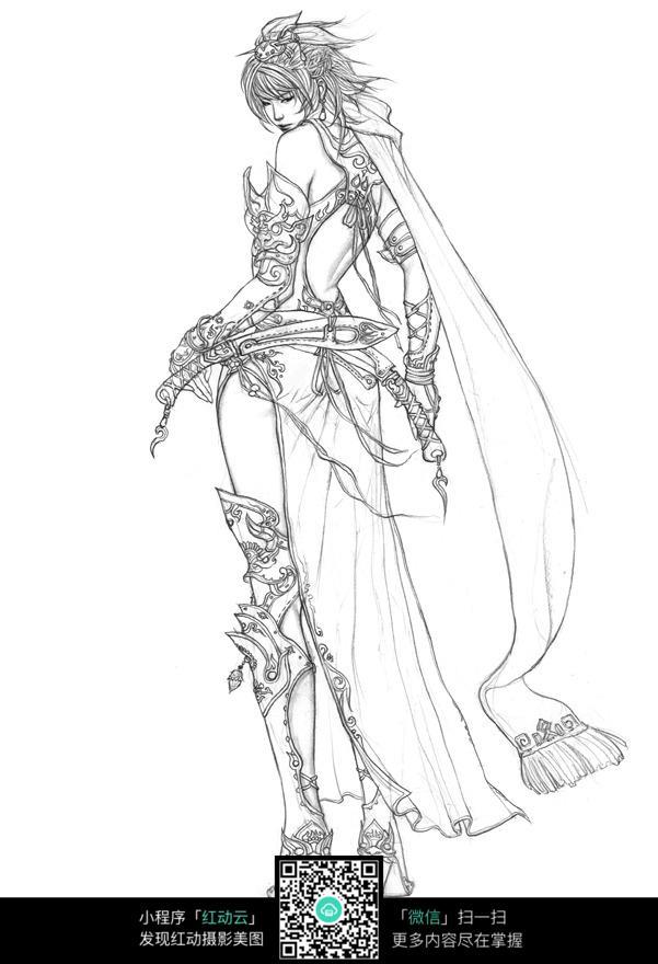 拿刀的美少女战士背面手绘线稿素材