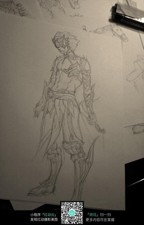 拿刀的战士手绘图_人物卡通图片