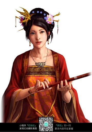 拿笛子的美女手绘仿真填色画图片