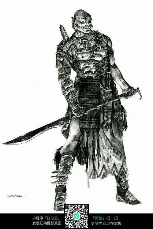 拿剑的怪兽手绘素描画图片