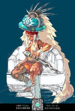 免费素材 图片素材 漫画插画 人物卡通 拿剑的武士手绘人物上色稿  请